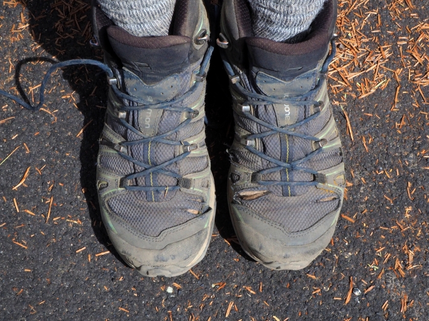 A pair of old hiking boots