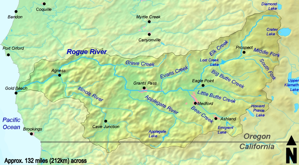 A map of the Rogue River Basin in Southern Oregon