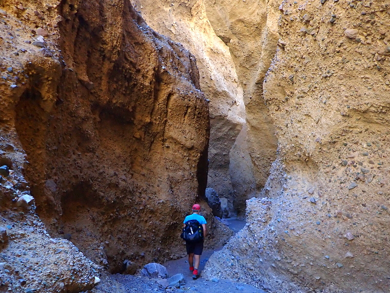Hiking in Funeral Slot Canyon, Death Valley National Park, California