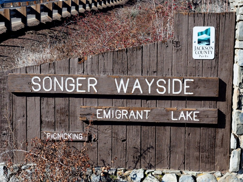 Sign for the Songer Wayside outside Ashland, Oregon
